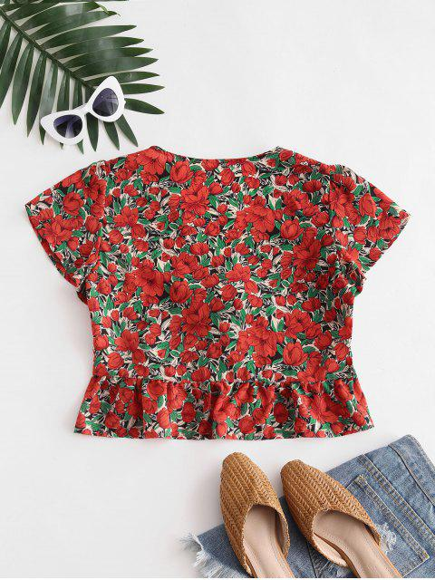 online Flower Print Tie Front Peplum Blouse - RED L Mobile