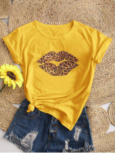 Camiseta Básica com Estampa Gráfica de Leopardo - Amarelo XL Mobile