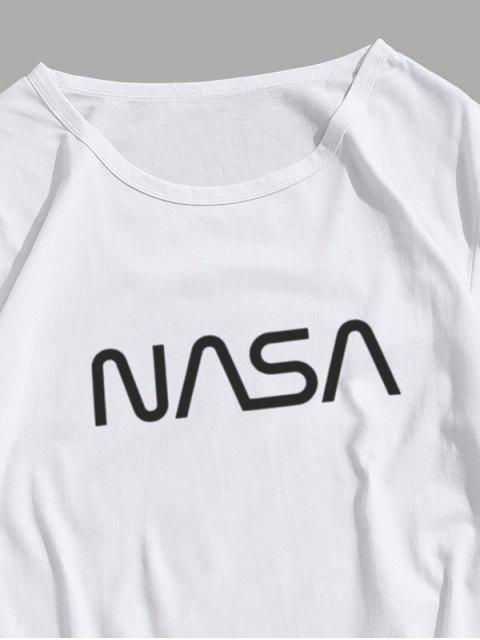 T-Shirt Casuale Grafica di Lettere con Maniche Corte - Bianca XS Mobile