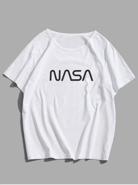 T-Shirt Casuale Grafica di Lettere con Maniche Corte - Bianca S Mobile