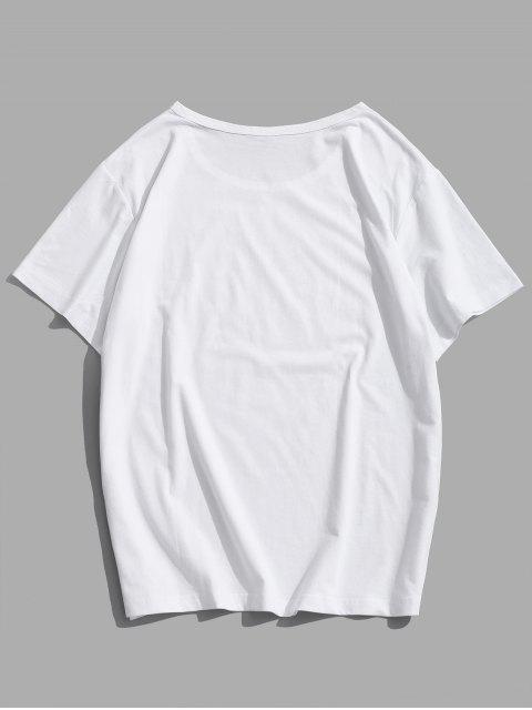 T-Shirt Casuale Grafica di Lettere con Maniche Corte - Bianca M Mobile