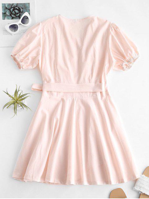 ladies V Neck Puff Sleeve Wrap Dress - SAKURA PINK L Mobile