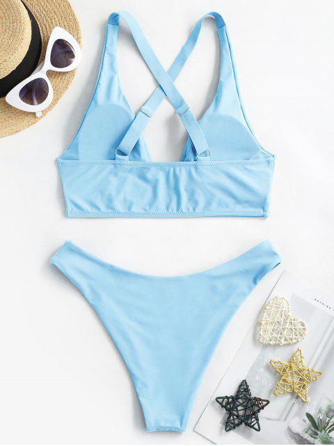 affordable ZAFUL High Cut Crisscross Bikini Swimsuit - LIGHT SKY BLUE S Mobile