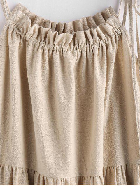affordable ZAFUL Tie Strap Frilled Tiered Cami Dress - CHAMPAGNE XL Mobile