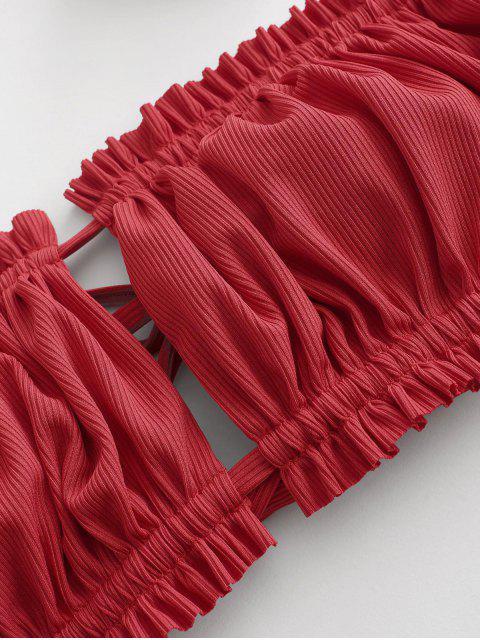 unique ZAFUL Ribbed Flower Ruched Bandeau Bikini Swimwear with Scrunchie - RED L Mobile