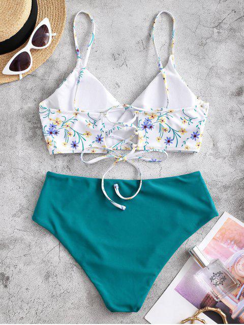 ZAFUL Ditsydruck Tankini Badebekleidung mit Schnürung - Blaugrün S Mobile