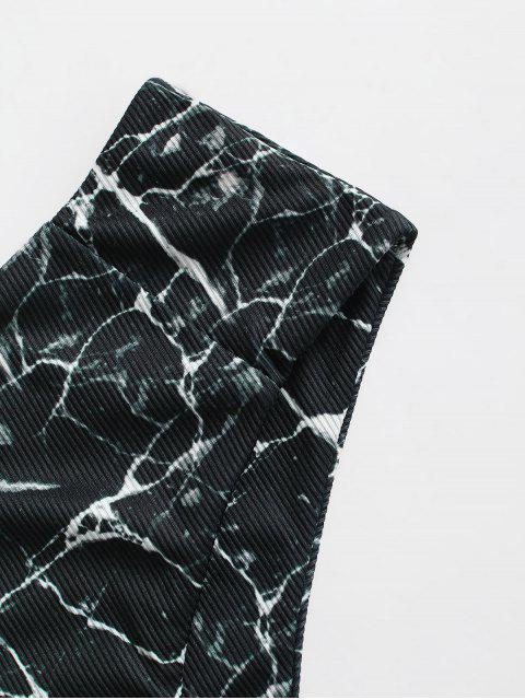 affordable ZAFUL Marble Print Ribbed Bikini Bottom - BLACK XL Mobile