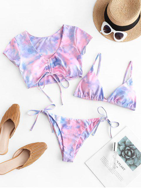 outfit ZAFUL Tie Dye Cinched Three Piece Swimsuit - PIG PINK S Mobile