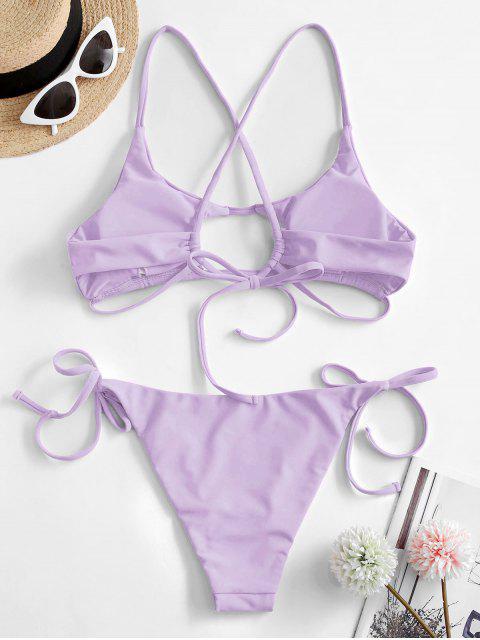latest ZAFUL Neon Cutout Tie Side Bikini Swimsuit - MAUVE S Mobile