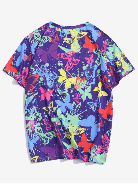 T-shirt Estampado de Mangas Curtas com Estampa de Borboleta - Íris Roxa S Mobile