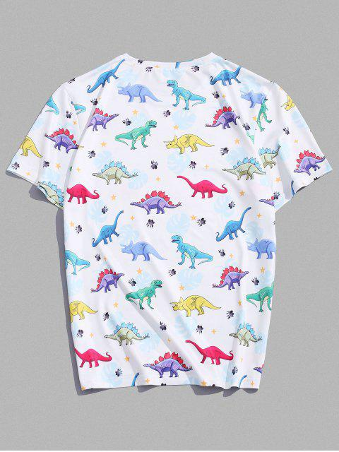 Cartoon Dinosaur Printed Short Sleeves T-shirt - أبيض 2XL Mobile