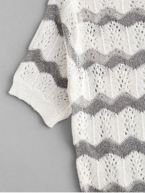 Camiseta de Patchwork longas com gola redonda e listras horizontais - Branco Um Tamanho Mobile