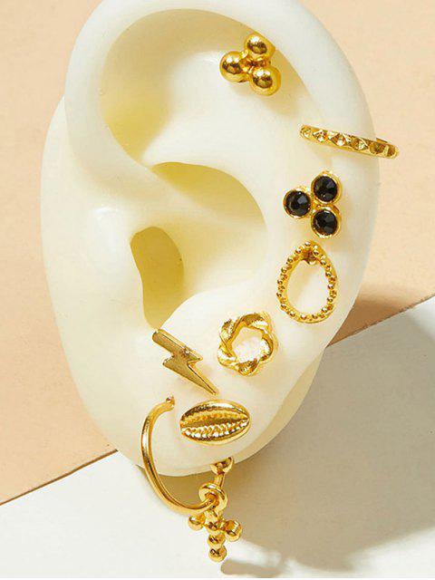 Kreuz Blume Ohrstecker und Ohr Manschette Ohrring Set - Gold  Mobile