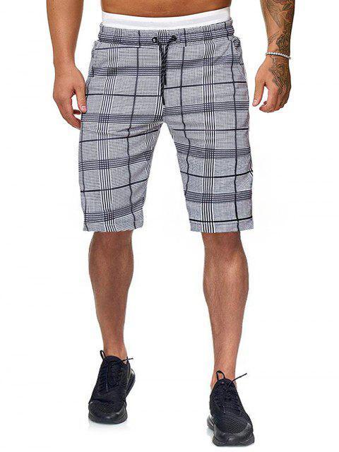 chic Plaid Drawstring Shorts with Ribbons - MULTI 2XL Mobile