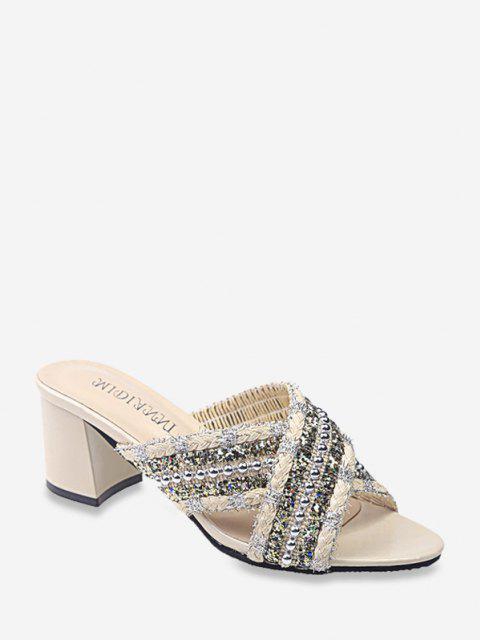 lady Criss Cross Beads Slides Sandals - BEIGE EU 41 Mobile