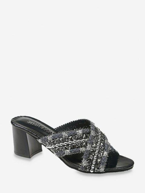 shop Criss Cross Beads Slides Sandals - BLACK EU 38 Mobile