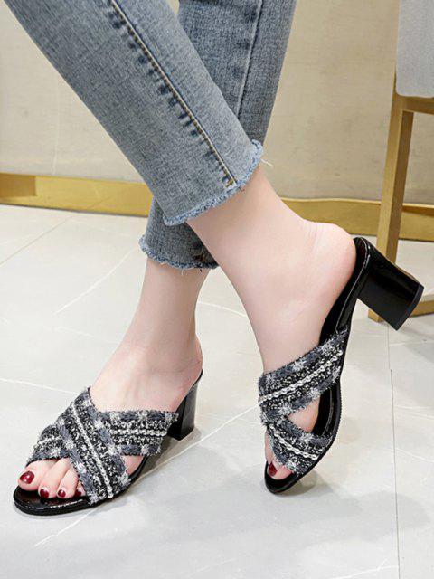 Sandales Perlées Croisées - Noir EU 38 Mobile