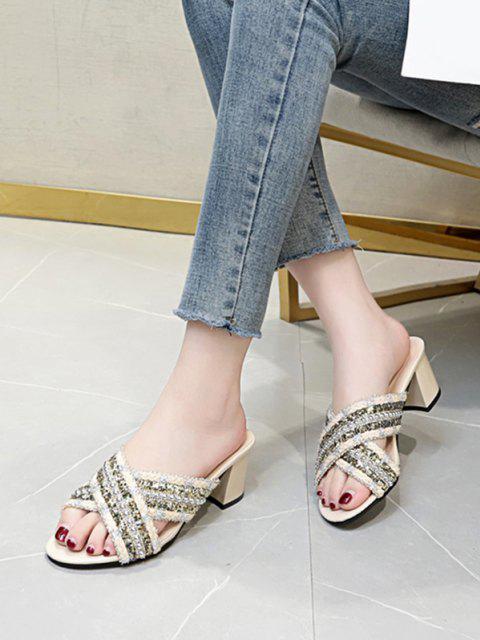 new Criss Cross Beads Slides Sandals - BEIGE EU 38 Mobile