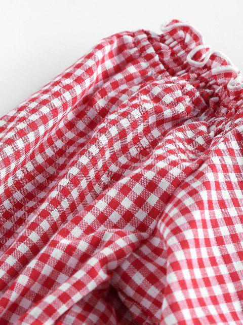 ZAFUL Gingham Rüsche Puff Ärmel Kittel Rückseite Bluse - Bohne Rot S Mobile