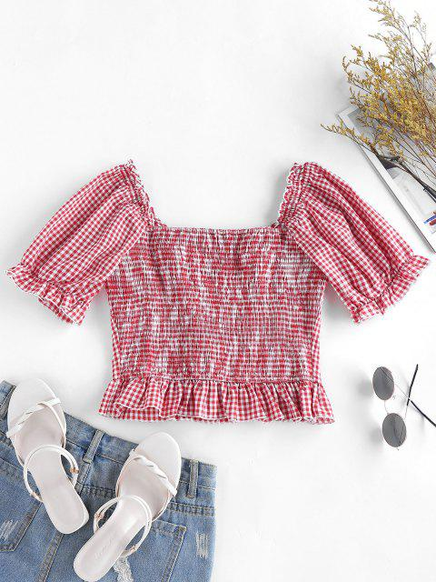 best ZAFUL Gingham Ruffle Puff Sleeve Smocked Back Blouse - BEAN RED L Mobile