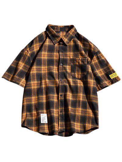 Camisa De Manga Corta Con Bolsillo Y Estampado A Cuadros - Oro Anaranjado M