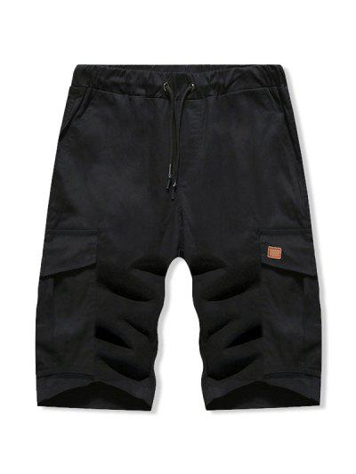 Solid Color Double Pocket Casual Shorts - Black L
