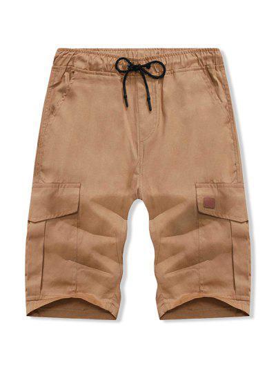 Solid Color Double Pocket Casual Shorts - Brown Sugar L