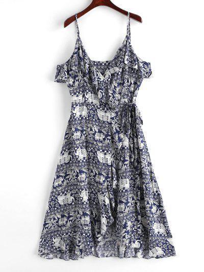 Flower Elephant Print Ruffle Wrap Cami Dress - Multi L
