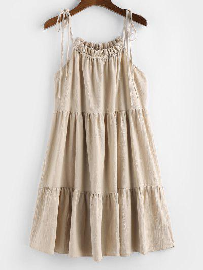 ZAFUL Tie Strap Frilled Tiered Cami Dress - Champagne M