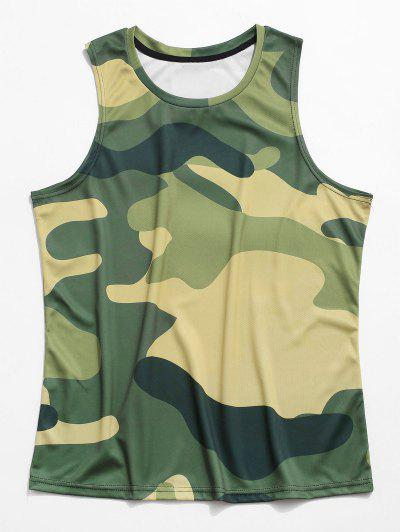Camo Printed Casual Tank Top - Camouflage Green 3xl