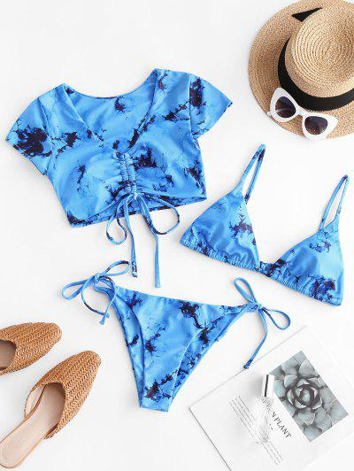 ZAFUL Tie Dye Cinched Three Piece Swimsuit - Day Sky Blue S