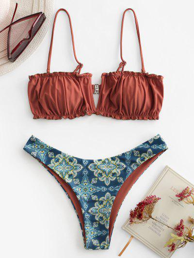 ZAFUL Printed V-wired High Cut Bikini Swimwear - Mahogany S