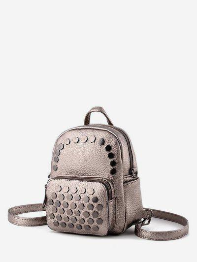 Geo Studded Mini Leather Backpack - Rose Gold