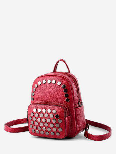 Geo Studded Mini Leather Backpack - Red