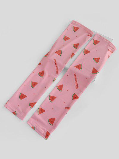 Watermelon Print Thumb Hole Mesh Arm Gloves - Flamingo Pink