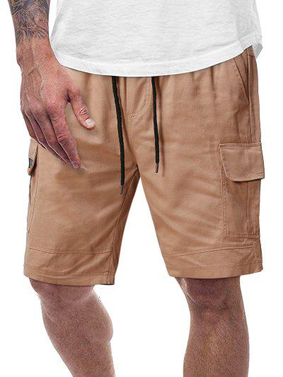 Plain Flap Pockets Drawstring Cargo Shorts - Fall Leaf Brown M