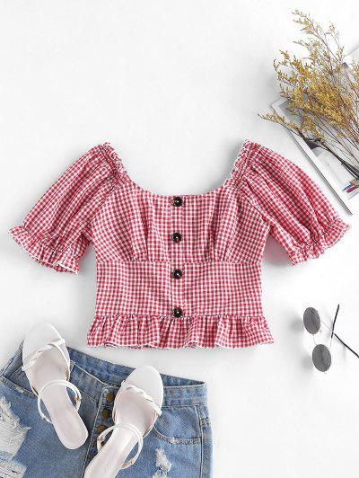 ZAFUL Gingham Ruffle Puff Sleeve Smocked Back Blouse - Bean Red L