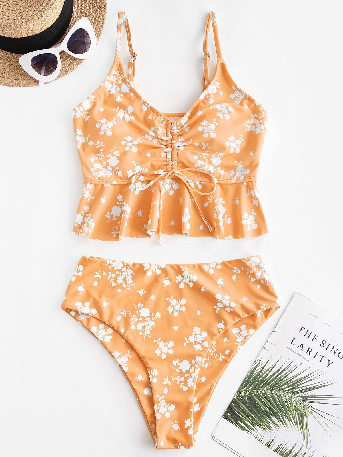 zaful Tiny Floral Cinched Peplum Tankini Swimwear