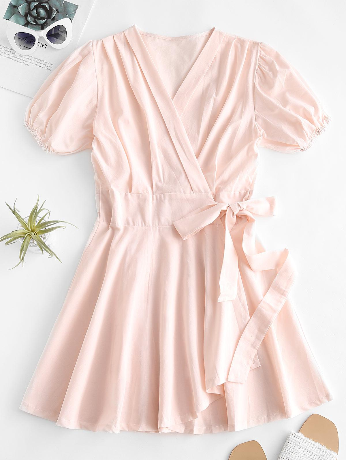 V Neck Puff Sleeve Wrap Dress