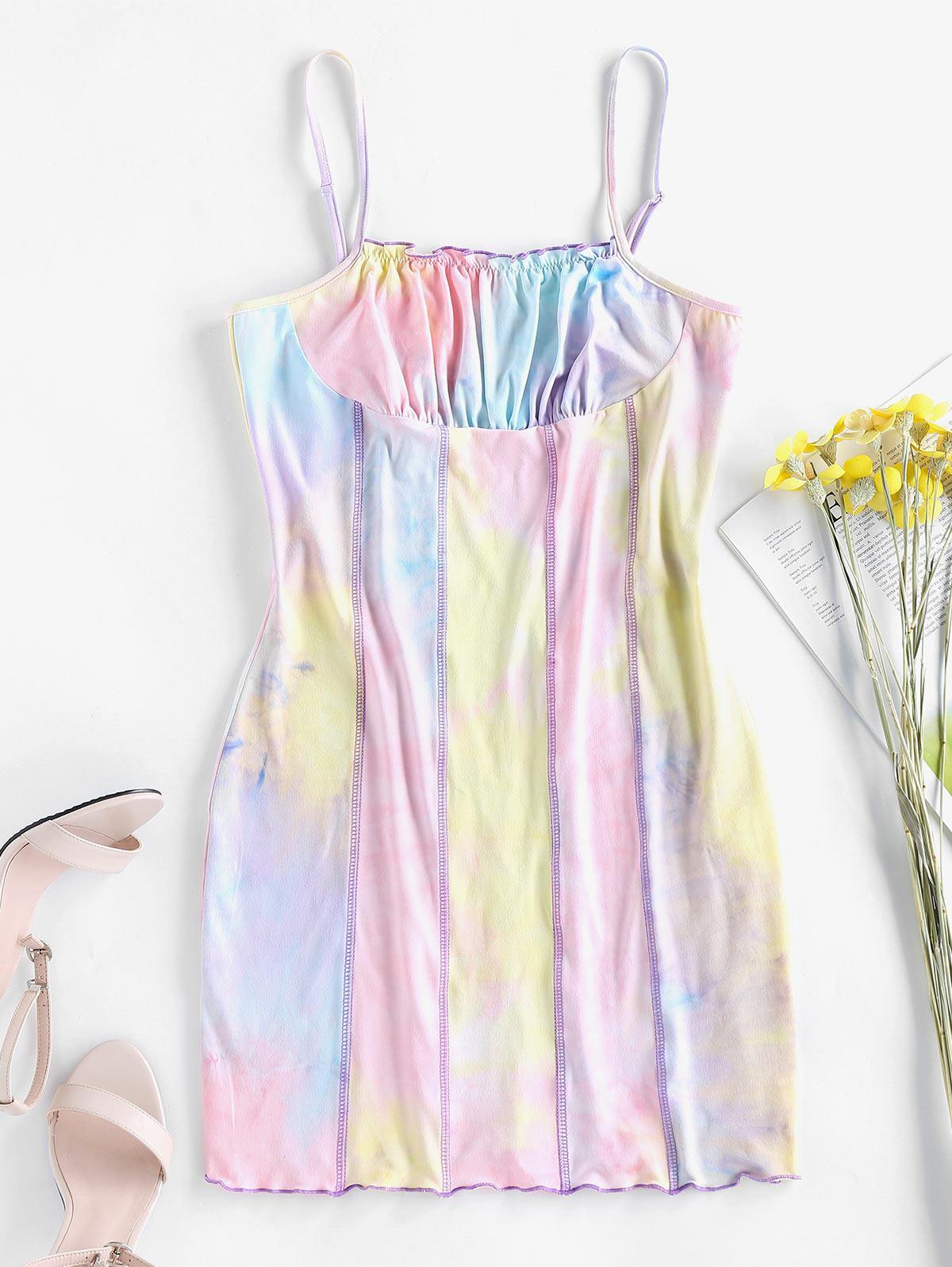 ZAFUL Topstitching Tie Dye Bodycon Dress