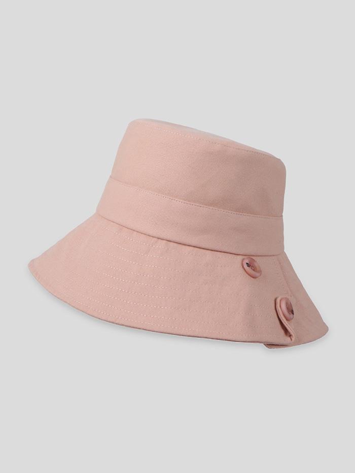 Button Solid Sun Bucket Hat
