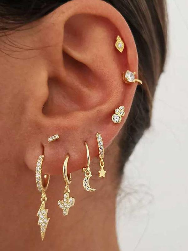 Rhinestone Lightning Drop Stud And Ear Cuff Earring Set