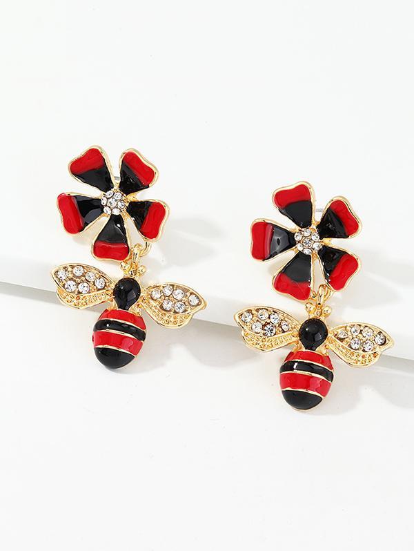 Rhinestone Floral Honey Bee Drop Earrings
