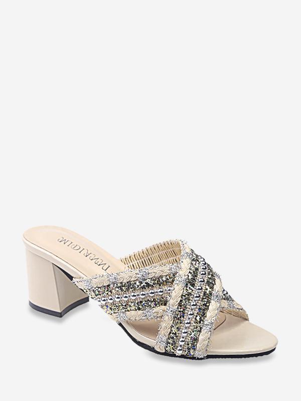 Criss Cross Beads Slides Sandals
