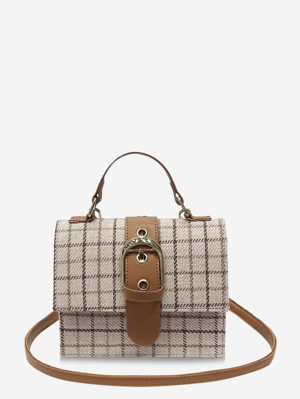 Grid Print Top Handle Buckled Crossbody Bag