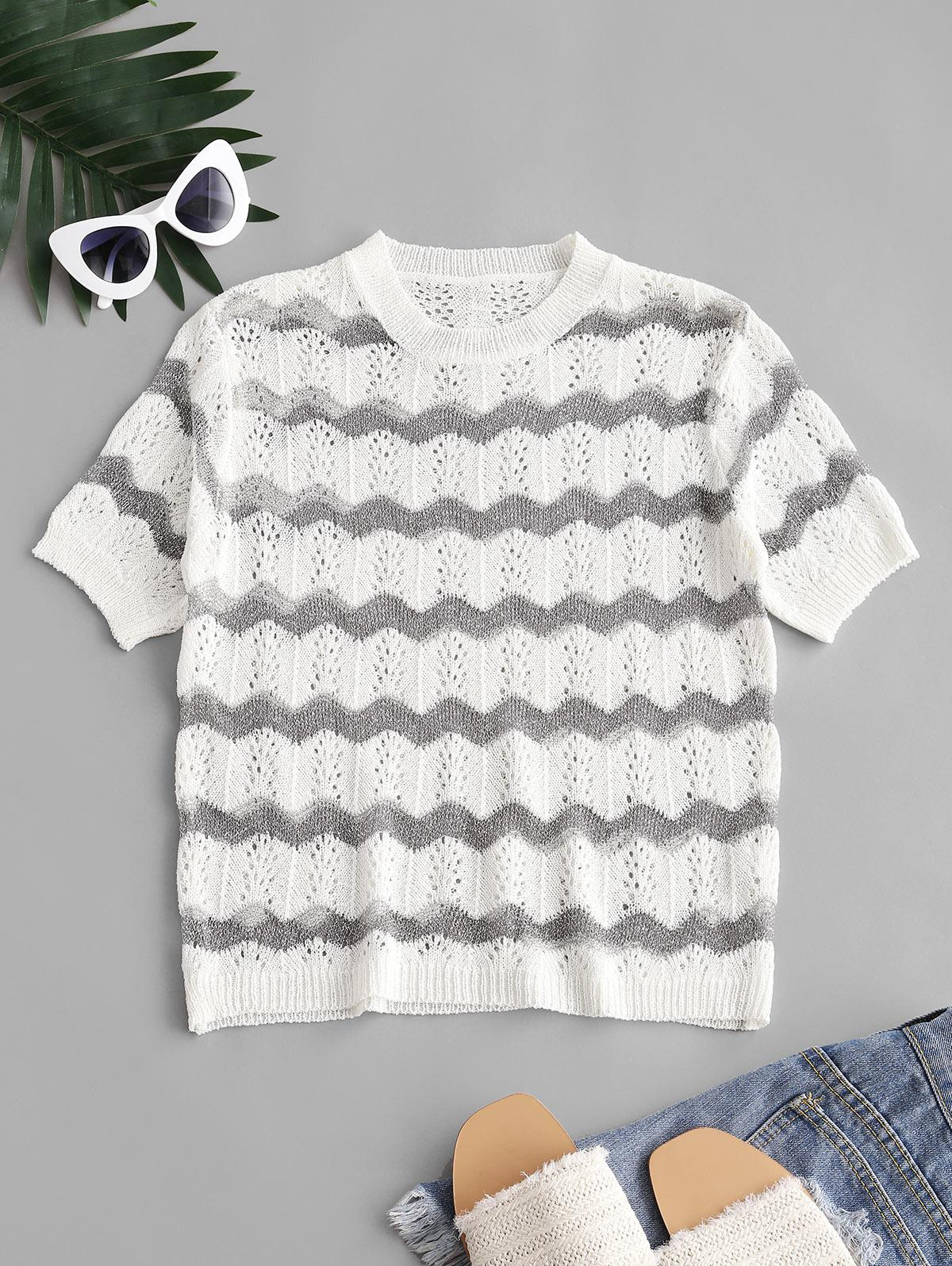 Crew Neck Glitter Stripes Pointelle Knit Tee