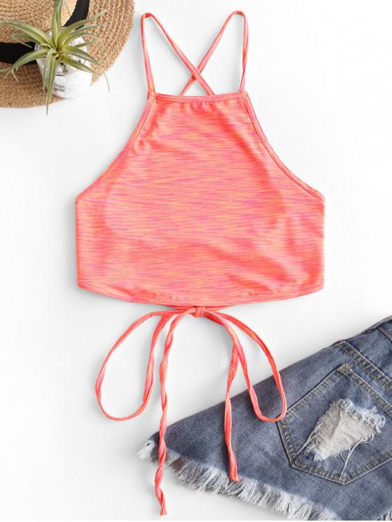 new Lace Up Criss Cross Heathered Tie Dye Crop Top - ORANGE L