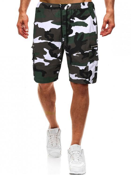 Camo Drawstring Cargo Shorts with Zipper Pockets - ACU التمويه M