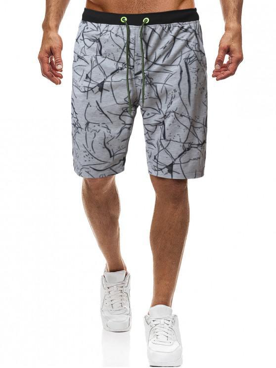 Irregular Print Contrast Drawstring Shorts - اللون الرمادي M