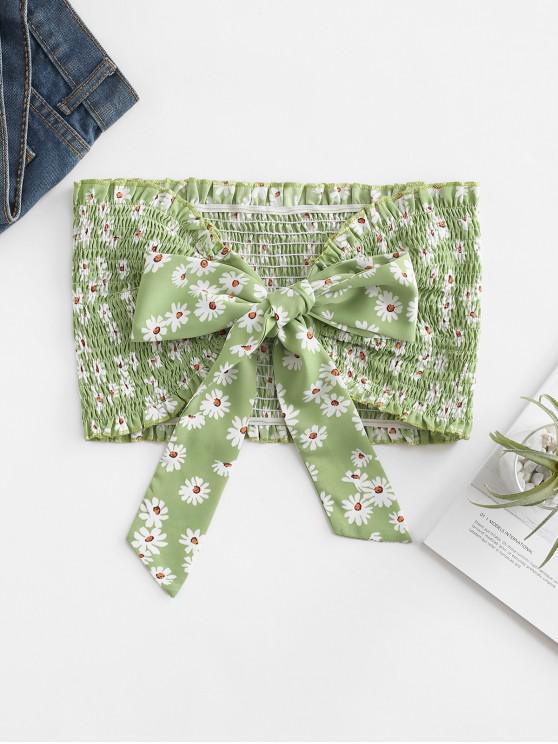 ZAFUL Floral Smocked Knot Bandeau Crop Top - أخضر M